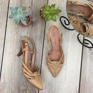 Carlo Pazolini Leather Jeweled Slingback Heels